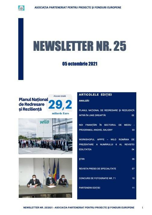 NEWSLETTER APPFE NR. 25 - 05 OCTOMBRIE 2021!